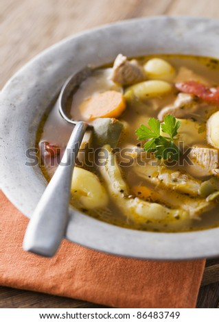 Fresh hot homemade stew with chicken, potatoes and vegetables