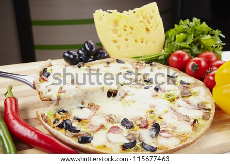 Fresh hot pepperoni pizza - closeup