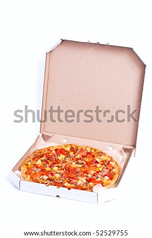 Fresh hot pizza with meat and cheese. With shadow