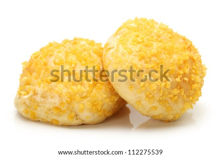 fresh hot white bread bun on white background