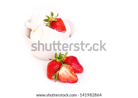 Fresh ice cream in a plate with strawberry isolated on white background