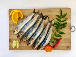 Fresh Indian oil sardine (Sardinella longiceps) on wooden board with curry leaves ,chill, orange slice, lemon and tomato.
