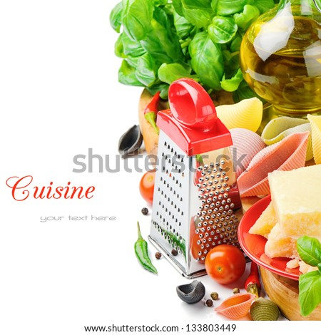 Fresh ingredients for Italian pasta with parmesan