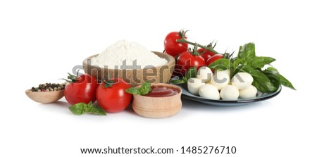 Fresh ingredients for pizza on white background #1485276710