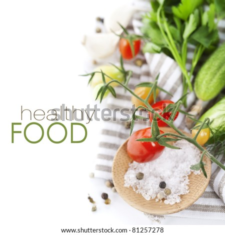 Fresh ingredients (tomatoe, garlic, pepper, cucumbers, dill, salt, parsley) (with sample text)