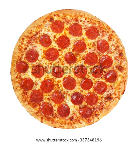 Photo of  fresh italian classic original pepperoni pizza isolated on white background