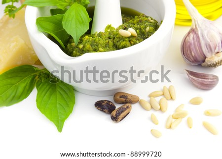 Fresh Italian Pesto and its ingredients / isolated on white