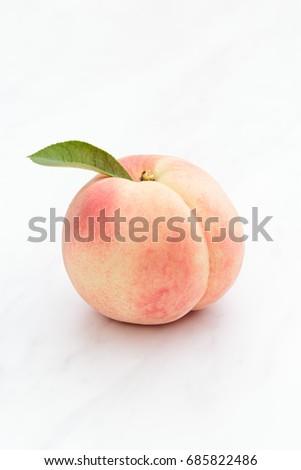 Fresh Japan White Peach on White Background