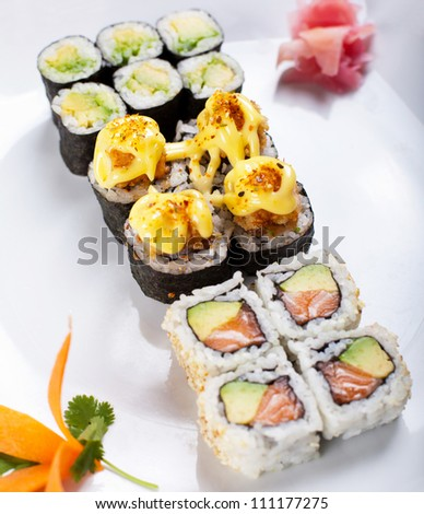 fresh Japanese sushi rolls - stock photo