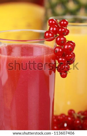 Fresh juice made from red fruits such as strawberries, red currants and cherries