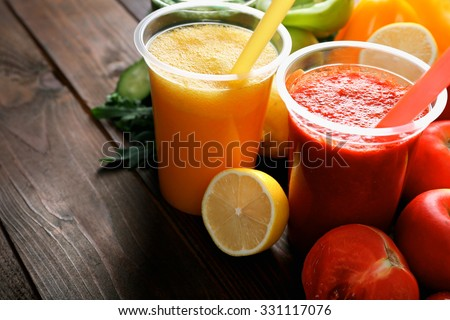 Fresh juice mix fruit, healthy drinks on wooden background