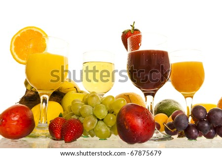 fresh juice of various fruits