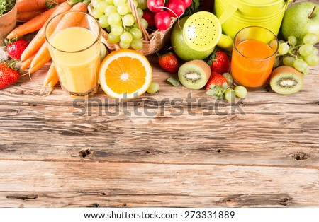 Fresh juice orange and carrot, Healthy drink on wood, breakfast concept, Nature fruits and vegetable