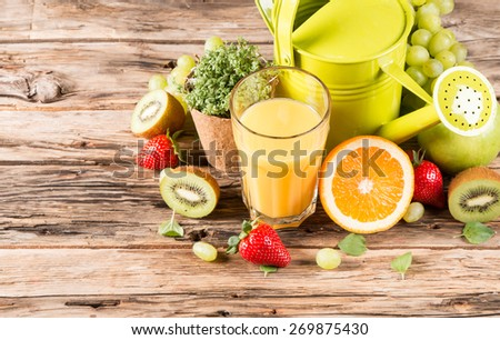 Fresh juice orange,Healthy drink on wood, breakfast concept, Nature fruits and vegetable