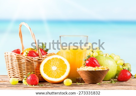 Fresh juice orange, Healthy drink on wood, breakfast concept, Nature fruits and vegetable