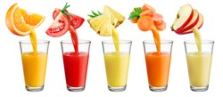Fresh juice pours from fruit and vegetables into the glass isolated on white background. Full resolution images # 531111286, 531111502, 531111292, 531111310, 531111295