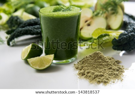 Fresh Juice Smoothie Made with Organic Greens, Spirulina, Protein Powders
