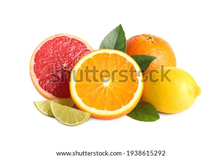 Fresh juicy citrus fruits with green leaves on white background Сток-фото ©