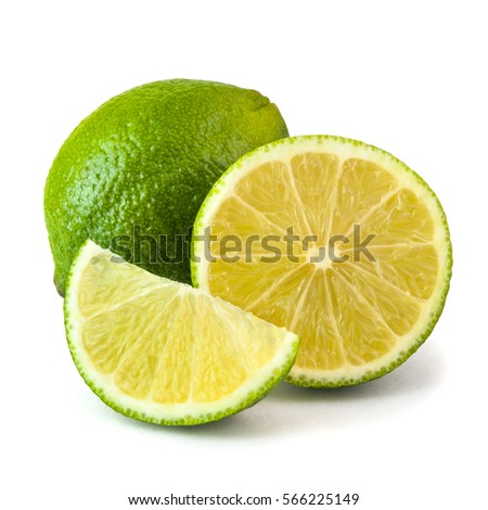 Fresh juicy lime isolated on white background #566225149