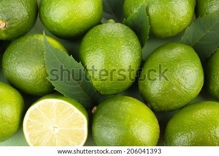 Fresh juicy limes, close up