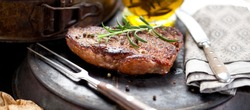 Fresh Juicy Medium Rare Beef Grillsteak. Barbecue Meat Close Up