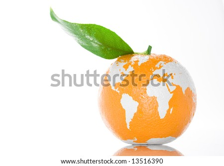 Fresh juicy orange with green leaf standing on white clean background. Fruit painted in world map. Creative conceptual image.