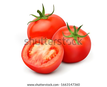 Fresh juicy red Tomato with cut in half  isolated on white background.