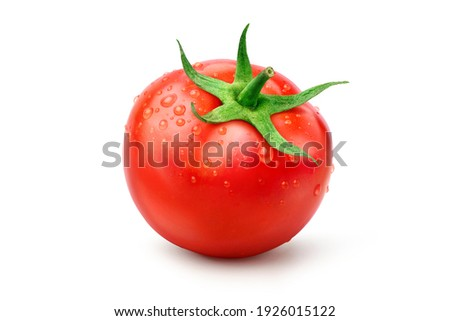Fresh juicy red tomato with water droplets isolated on white background. Clipping path