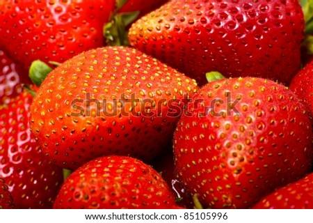 Fresh Juicy Strawberries Horizontal Photo. Macro Photo. Fruits Photo Collection.