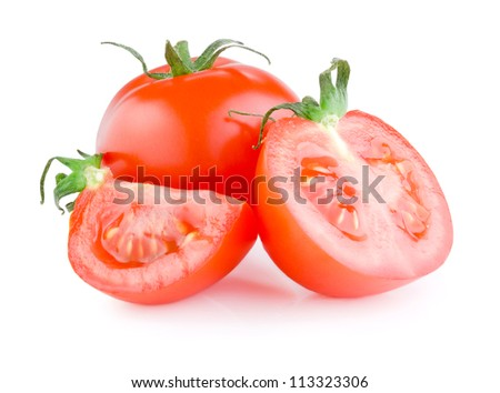 Fresh Juicy tomato cut in half Isolated on white background