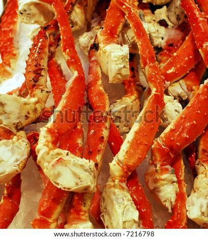 Fresh King Crab Legs on ice