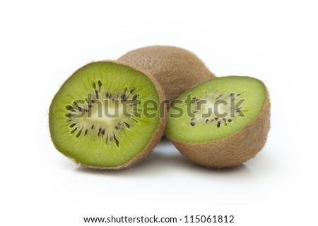 Fresh kiwi fruit on white background