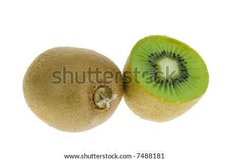 fresh kiwi isolated on a white background - stock photo