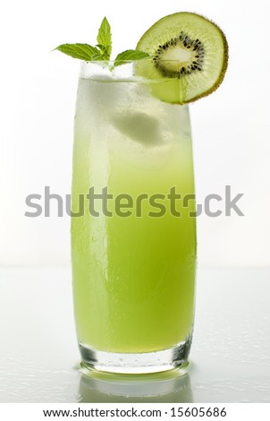 fresh kiwi juice isolated on white close up