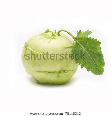 Fresh kohlrabi on white background
