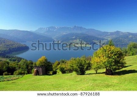 fresh landscape of mountain and lake