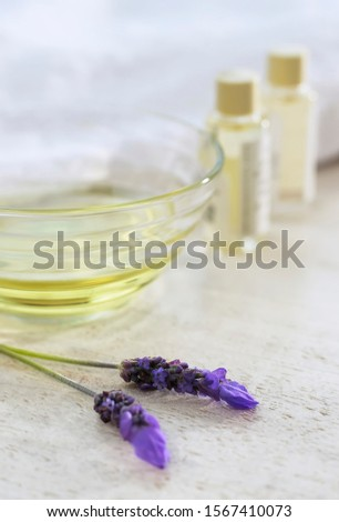 Fresh lavender flowers and essential oil concept, Fresh lavender, Oil for treatment, Spa treatment , Healthy treatment, Spa elements concept