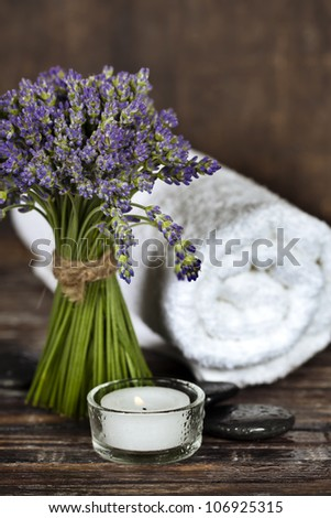 Fresh Lavender Flowers, Zen Stones, Essential Oil, Candle And ...