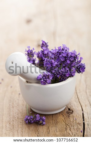 fresh lavender in mortar