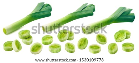 Fresh leek pieces set isolated on white background. Package design element with clipping path Сток-фото ©