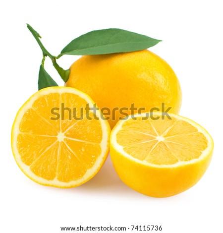 Fresh lemon citrus isolated on white background
