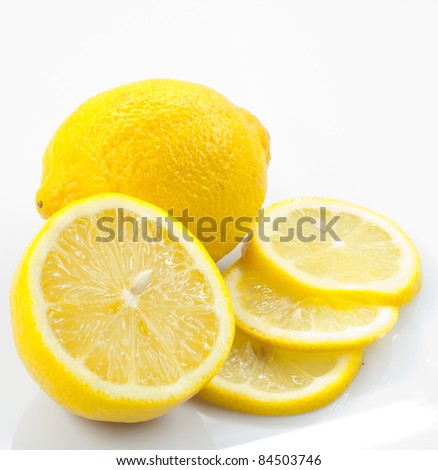 Fresh lemon citrus isolated on white background