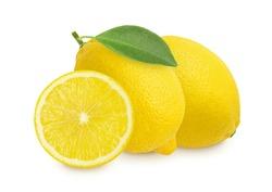 Fresh lemon fruit and sliced isolated on white background.