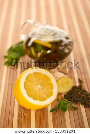 fresh lemon, mint and tea for the beverage