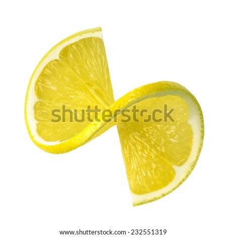 Fresh lemon twist slice isolated on white background as package design element