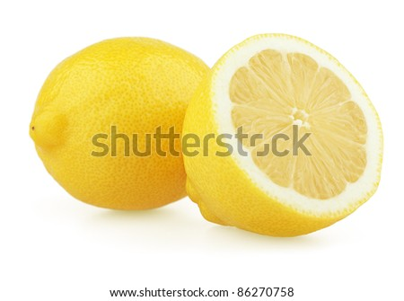 Fresh lemon with half isolated on white background