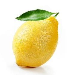 fresh lemon with  leaf isolated white background