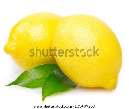 fresh lemon with leaves isolated on white background