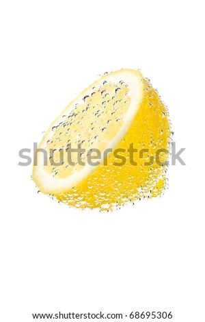 Fresh lemon with water bubbles