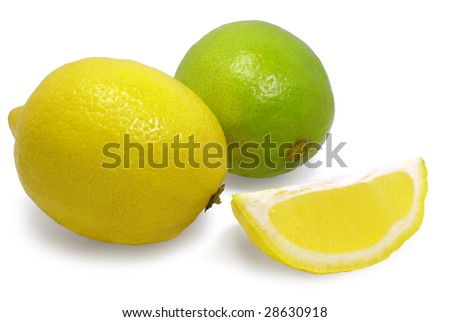 fresh lemons and lime isolated over white with clipping path